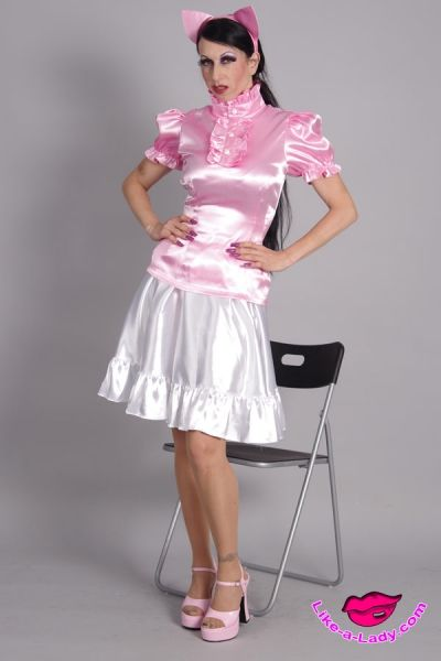 high neck satin volant ruffle blouse | Like-a-lady.com ...