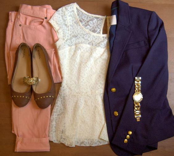 Blazer Banana Republic Factory Store // Lace top Kohls // Peach pants Banana Republic // Flats Target