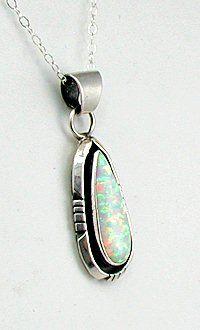 Native American Opal Pendant sterling silver Navajo