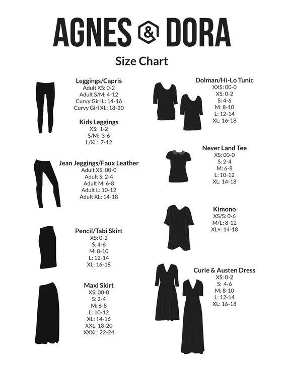 Agnes & Dora size chart! | Agnes & Dora | Pinterest | Charts