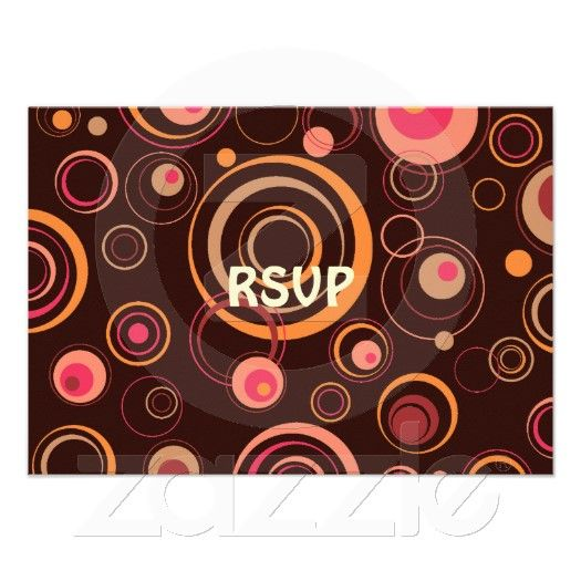 Brown/Pink Playful Retro Circles invitations