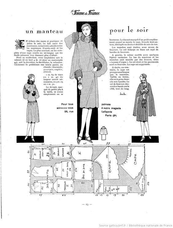 Manteau du soir (La Femme de France 14/11/1926)