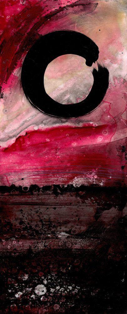 Original Enso Zen Painting Throw Pillows: Enso Abstract... Original Zen Circle Large Mixed Media