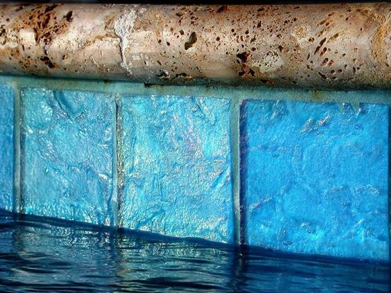 Blue tile at the pool waterline