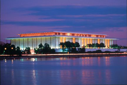 Kennedy Center at night...one of my favorite places is the rooftop deck