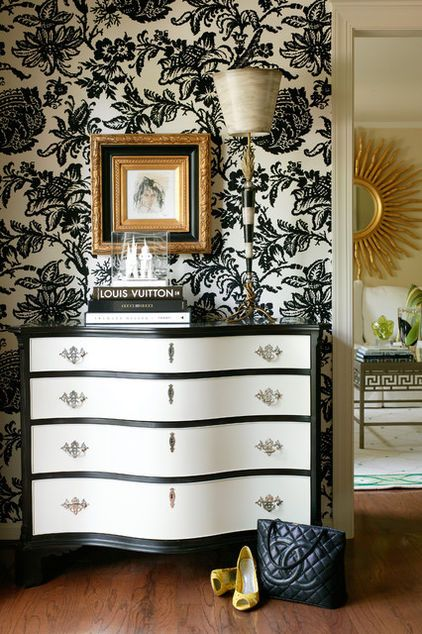 Icy Summer Drinks Reimagined as Rooms // Oreo milkshake: Don't put your blender away just yet. Throw in some milk, Oreos and ice cream. While blending, take a look at this gorgeous black and white vignette. This dramatic chest of drawers has perfect symmetry, yet the art piece is not centered. It's offset by the tall buffet lamp and accessories.