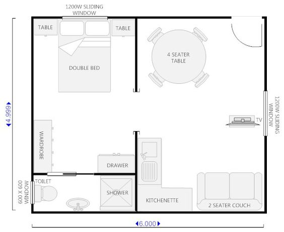 Floor plan for granny flat 6m x 6m google search for Kitchen design 4m x 2m