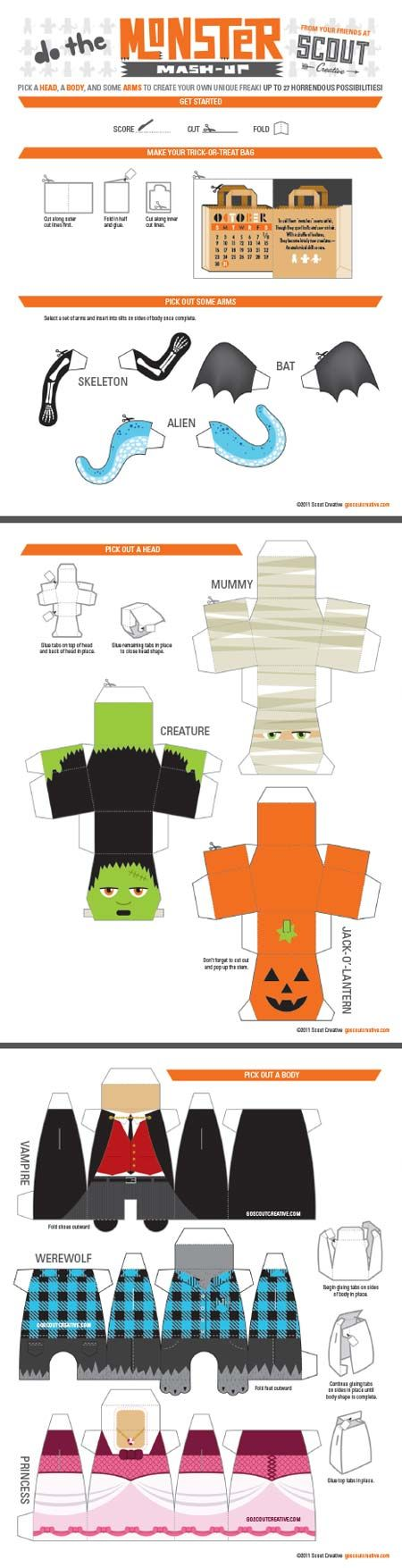 Monster mash paper toys and halloween on pinterest for Paper mashing craft