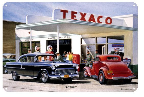 Texaco Gas Service Station, Classic Buick & Deuce Coup by Jack Schmitt, Metal Sign, Nostalgic Gas Oil Garage Art, FREE Shipping JS-16 by HomeDecorGarageArt on Etsy