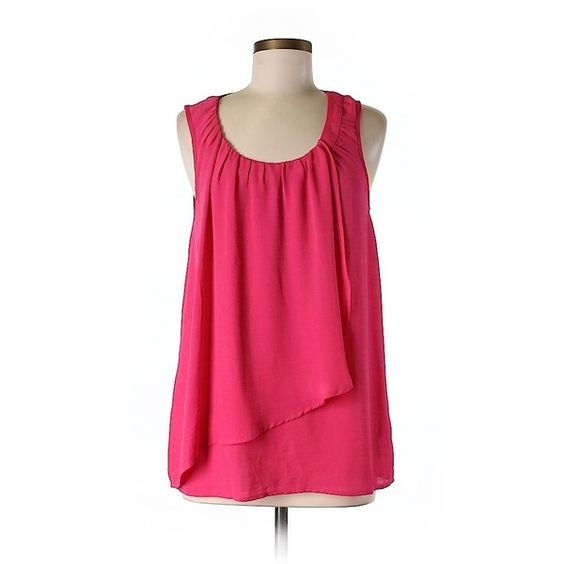 Pre-owned MICHAEL Michael Kors Sleeveless Blouse ($22) ❤ liked on Polyvore featuring tops, blouses, pink, sleeveless tops, michael michael kors, pink top, pink blouse and pink sleeveless top