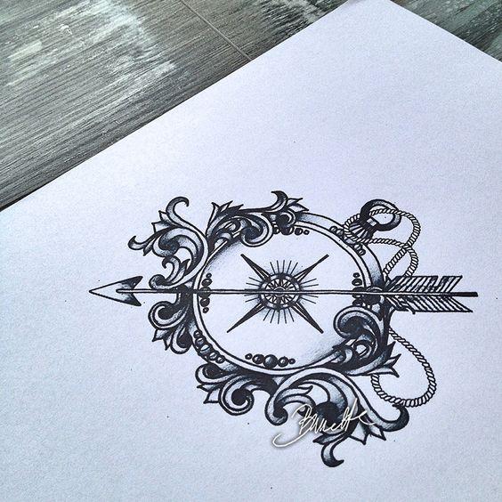 Antique Compass Tattoo Designs Antique Compass Rose Tattoo