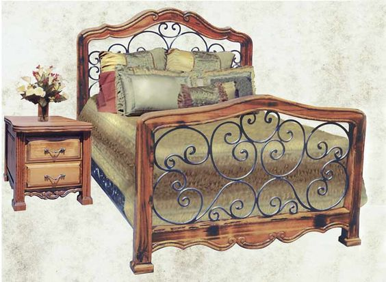 Furniture wrought iron and bedroom furniture on pinterest for Metal bedroom furniture