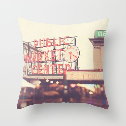 6:20. Seattle Pike Place Public Market photograph Throw Pillow