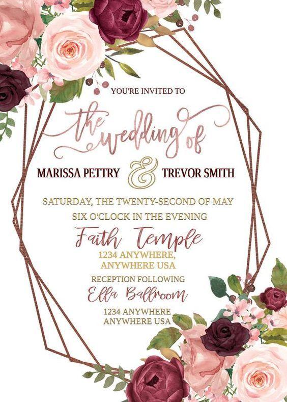 Marsala Wedding Invitation Boho Wedding Invitation Floral Etsy In 2020 Marsala Wedding Invitation Floral Wedding Invitations Wedding Invitations Boho