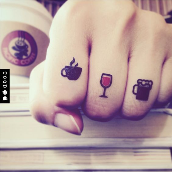 Small Drinks temporary tattoo sticker on fingers