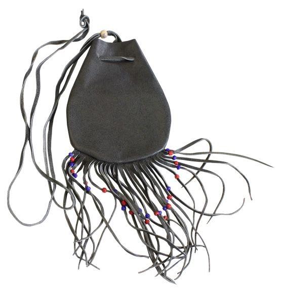 Medicine Bag Gris en Cuir et Perles - Chamanisme