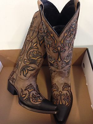 Details about Brand new BROWN w/ cross inlays womens ladies cowboy