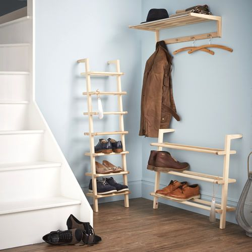 Wooden Ladder Shoe Rack Tall In 2020 Shoe Rack With Shelf Shoe Rack Wooden Ladder