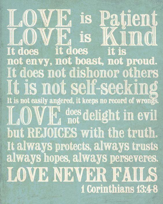 Wedding Reading Love Is Patient: 8x10 Print. 1 Corinthians 13. Love Is Patient