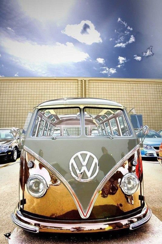 Volkswagen Camper - split screen - Chrome mirror effect is pretty damn special! www.cardeck.co ...