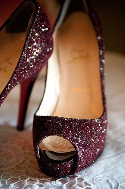 Paillettes bordeau #Mariage #Chaussures #EclatdeReves