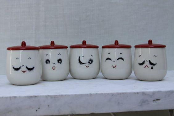 Vintage Expressions Faces tea cups set bakelite plastic covers childrens