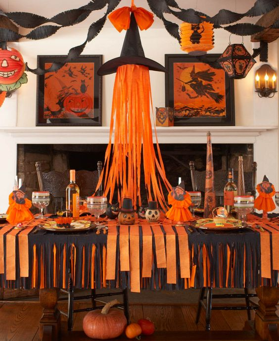 Karin Lidbeck: This adorable witches hat was taken right from the pages of a 1920's Halloween manuel. A fun new centerpiece that takes your purchased black witch hat to a new height.  Tape shredded crepe paper to inside of hat.  Use rolls of orange over a black table cloth to create a criss cross table runner.repe Paper Halloween, Back to Basics: