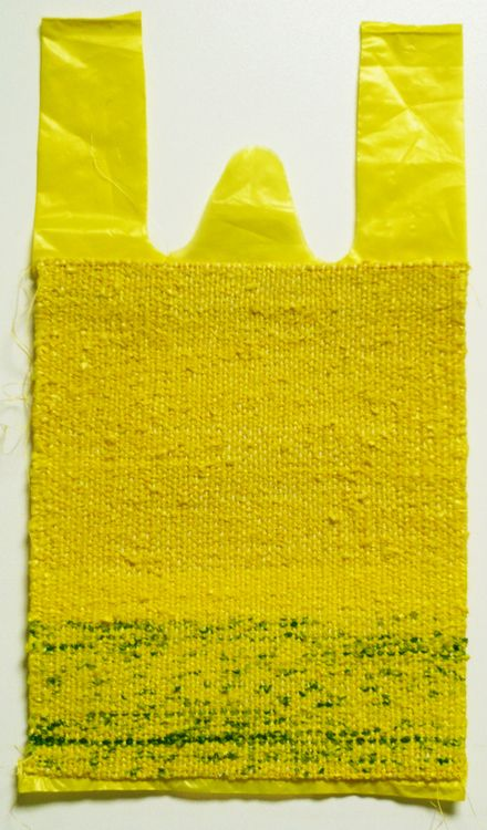 "Taeyoun Lee, ""This is not a Ploastic Bag"" 13"" x 7.5"" woven tapestry, STI 3"