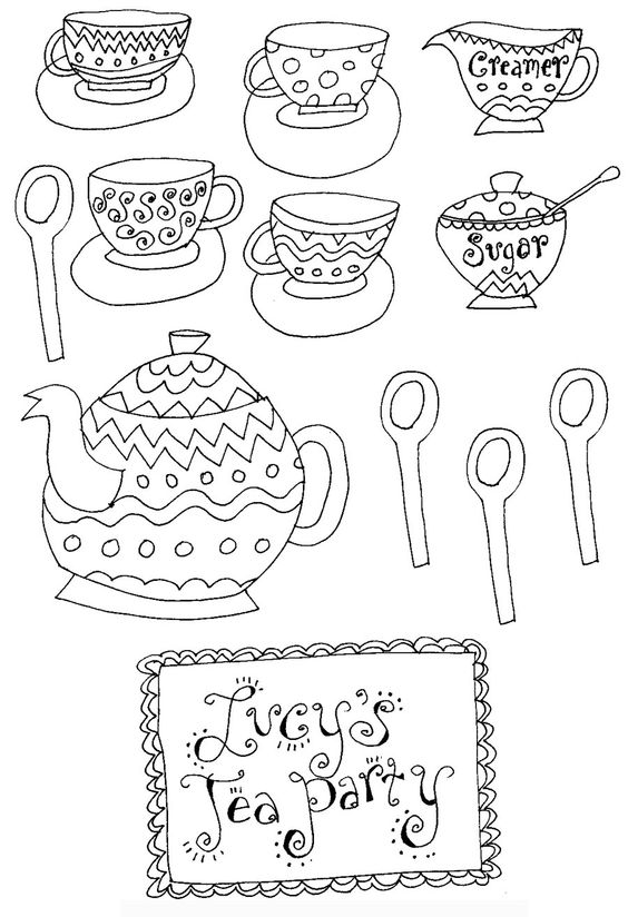 tea party coloring pages free - photo#22