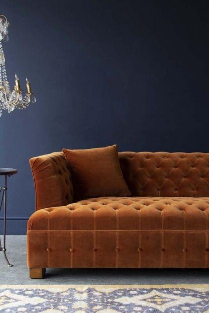 Burnt Orange Velvet Chesterfield 3 Seater Sofa Velvet Chesterfield Sofa Orange Sofa Retro Sofa