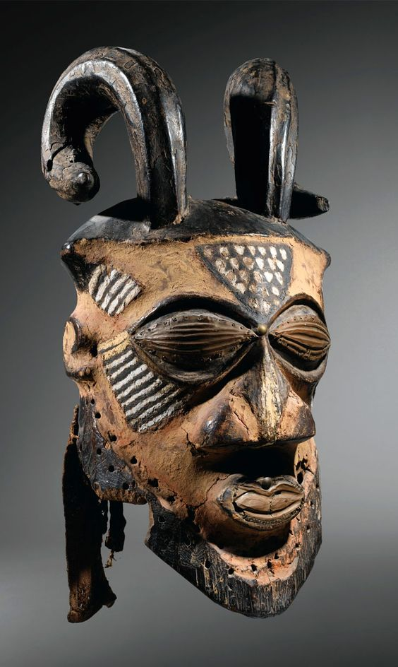 Africa | Old mask from the Kuba-Kete people from of the Democratic Republic of Congo | Wood and pigment