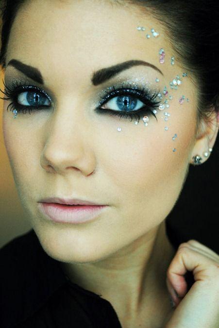 Crystals on eye makeup