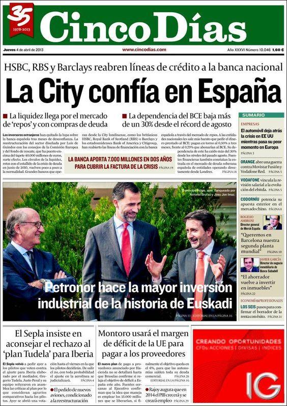 Los Titulares y Portadas de Noticias Destacadas Españolas del 4 de Abril de 2013 del Diario Cinco Días ¿Que le parecio esta Portada de este Diario Español?