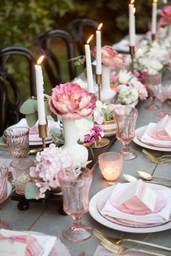 We Love This Simple And Pretty Tablescape With A Lovely Outdoor Vintage Flair. The Pink And Gold Color Palette Is Amazing Too!: