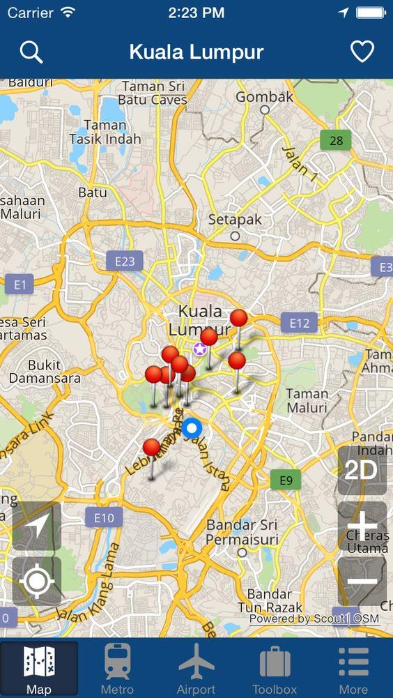 iPhone App Kuala Lumpur Offline Map City Metro Airport and – App Travel Map