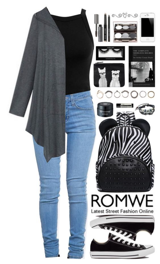 """Romwe 4"" by scarlett-morwenna ❤ liked on Polyvore featuring Miss Selfridge, ZooShoo, Converse, Iosselliani, Monki, Aesop and Bobbi Brown Cosmetics"