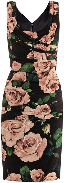 DOLCE & GABBANA Rose Print Ruched Dress - Lyst: