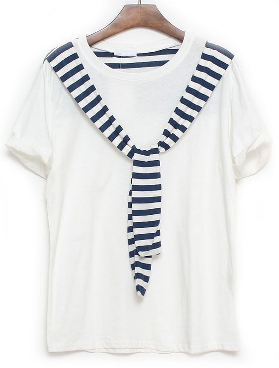 White Short Sleeve Striped Ribbon Embellished T-Shirt - Sheinside.com