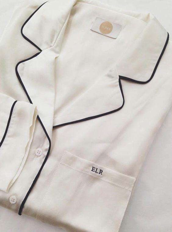 yolke monogrammed silk stretch pyjamas in ivory with black piping