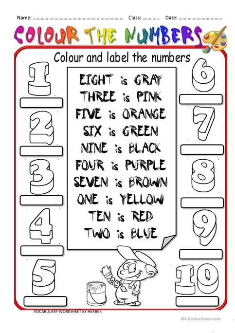 Colour By Numbers Worksheets English Worksheets For Kids, English  Worksheets For Kindergarten, Vocabulary Worksheets