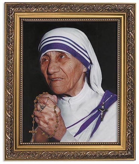 Mother Teresa Of Calcutta Print In Ornate Gold Frame