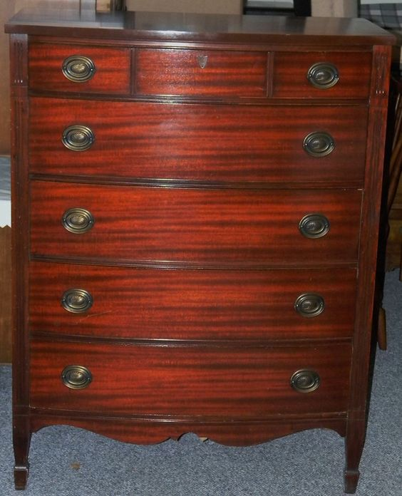 Vtg antique 1940\'s dixie chippendale style tall mahogany dresser ...