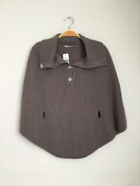 LF Stores Demonia New Women's Casual Cute Cape Sweater Poncho Shrug Mocha S $156 #Demonia #Poncho