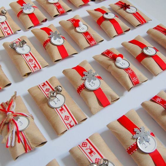 Homemade Advent Calendar using paper rolls - you could use paper towel rolls cut in half too!