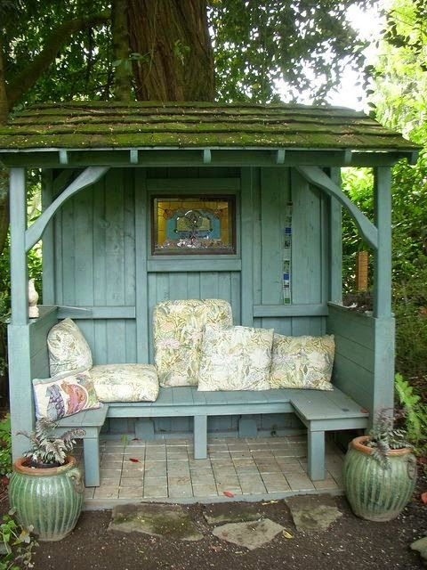 The idea is good but this arbour is a little past its sell-by!  Lovely #shabby little #garden #shelter....