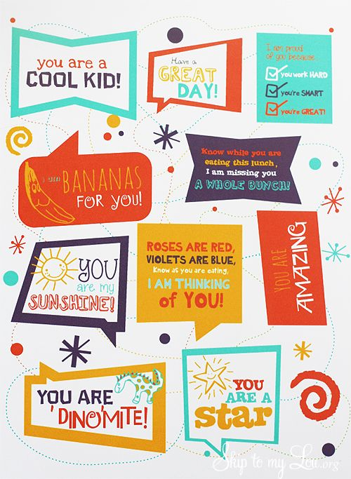 Cute free printable lunchbox notes from Skip to My Lou: