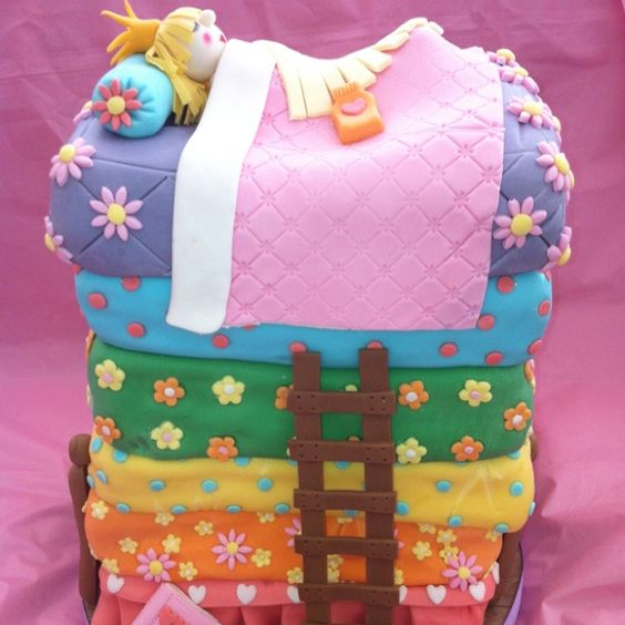 Princess-and-the-pea cake. My cousin made this. I think its the best cake Ive seen IN MY LIFE.