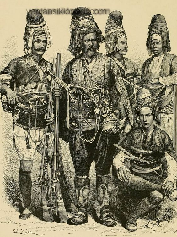A group of 'Efe' (or: 'Zeybek') from the Izmir-Aydın region, in traditional outfit.  Late-Ottoman era, 1860-1880.  The 'Efe / Zeybek' were the 18th-19th century people's militia of the Aegean coastal area, who sometimes turned themselves into professional brigands.