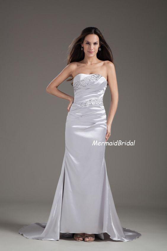 Satin Beaded Strapless Sheath Gown Corset Back by MermaidBridal, $118.99
