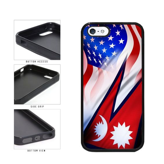 BleuReign(TM) Nepal And USA Mixed Flag TPU RUBBER Phone Case Back Cover Apple iPhone 5 5s and iPhone SE. COMPATIBILITY: It is important to note that this case will ONLY FIT the Apple iPhone 5 5s and iPhone SE Smartphone. Case will fit like a glove. COLOR: This case comes in a high quality color that will last the life of your phone. This is NOT a decal, skin or sticker. Our cases will not peel, fade or crack. We press the image onto a metal plate using the latest sublimation technology....